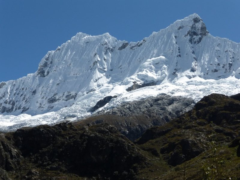 The infamous south and west faces of Chacraraju in the Cordillera Blanca of Peru