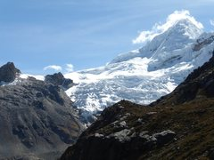 The spectacular Nevado Tokllaraju, in the Ishinca Valley of Peru