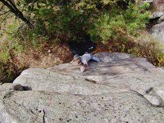 Rock Climbing Photo: Reaching for the crux!