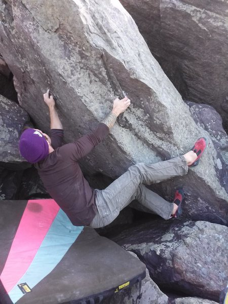 Rock Climbing Photo: Sam pulling on