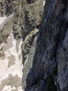 Rock Climbing Photo: Unprotected traverse beneath the roof on pitch 8 t...