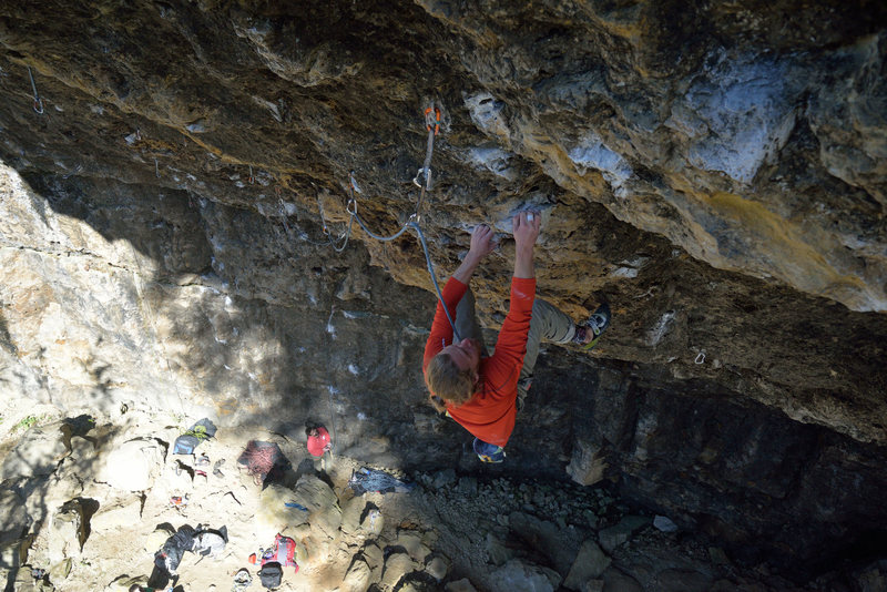 almost to the crux, just below the pocket.