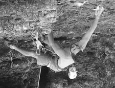 Rock Climbing Photo: bob at the crux.