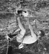 Rock Climbing Photo: bob moving through the crux.