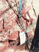 Rock Climbing Photo: Some strange sheet of plastic, hanging from the an...