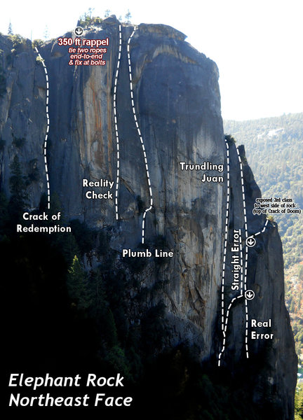 Rock Climbing Photo: The major routes on the east side of Elephant Rock...