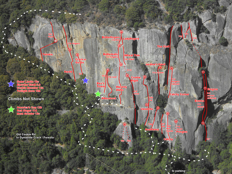 A selection of some of the routes at one of America's most iconic crags.<br> <br> Just noticed the trail &quot;to parking&quot; is slightly in the wrong spot. The trail up hits the base directly below The Stigma (5.13 tips crack) which is about 150 feet to the right of Catchy.