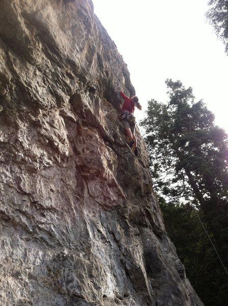 Rock Climbing Photo: Annie navigating the crazy rock around bolt 2-3.