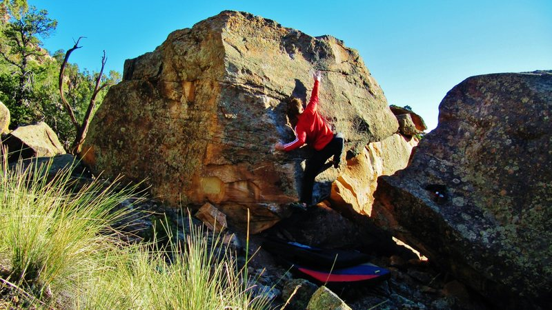 Rock Climbing Photo: Failing to make the reach to the edge, but it prov...