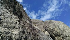 Rock Climbing Photo: 50m rappel off the shoulder near the top of the se...