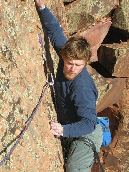 Rock Climbing Photo: J. Walsh on Sunday Stroll's crux, circa-2002.