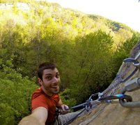 At the chains of Fire and Brimstone -5.10d, Drive-By Crag, Red River Gorge, KY