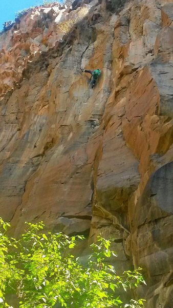 Rock Climbing Photo: The Doctor throwing the heel hook on the FA.