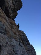 Rock Climbing Photo: Gunks looking up to the belay ledge second pitch o...