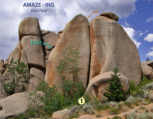 The East Face of Amaze-ing showing the route 'The Gates of Lodore' (1).