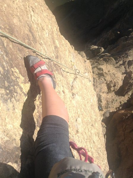 Half way up the third pitch, fun exposure, safe route, plenty of grippy holds.