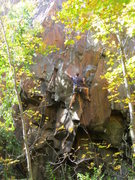 Rock Climbing Photo: Ettoill Shea on the First Ascent... or right befor...