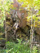 Rock Climbing Photo: Ettoill Shea moving about to begin the crux sequen...