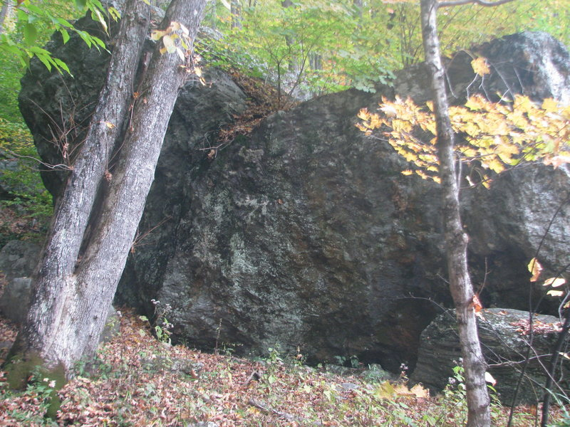 The Mallery Boulder as seen approaching on the Orange Crush trail