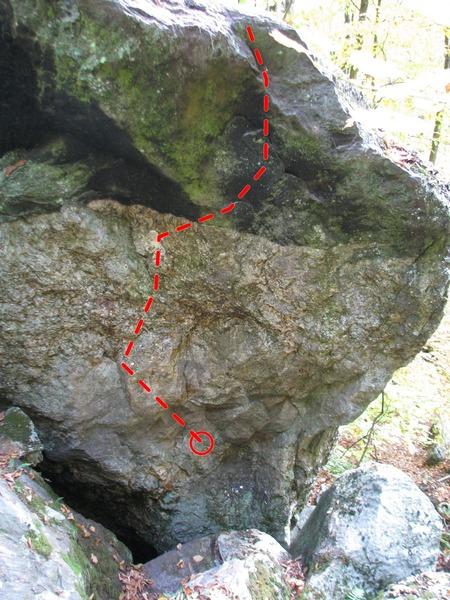 The Internal Flame - in back of the Orange Arete boulder - topo