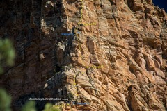Rock Climbing Photo: Alex P and I on the third pitch of SSC. Bolt locat...