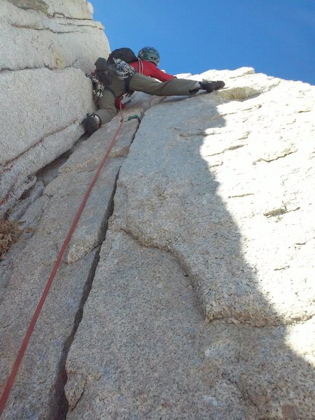 Rock Climbing Photo: Richard Shore leading high on route (P6 or 7?). Ph...