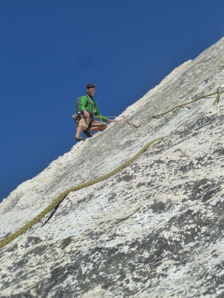 Rock Climbing Photo: Long out on the slabs of Snake Dike