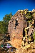Rock Climbing Photo: Wonderful patina block in Mills Canyon, Roy, NM.