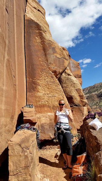 Rock Climbing Photo: April taped up and ready for her first splitter cr...