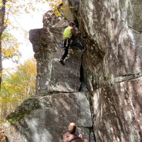 Rock Climbing Photo: Lord Peterson on the first ascent.