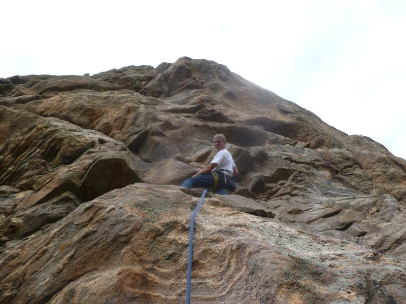 Mark on the first ascent near the first bolt.