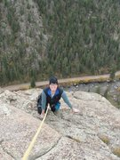 Rock Climbing Photo: My wife having fun near the summit of Guide's Rout...