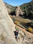 Rock Climbing Photo: My wife on pitch 2 of Moby Grape.
