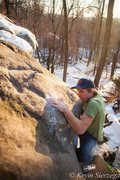 Rock Climbing Photo: Dave Quinney topping out Cracked Shell on a warm d...