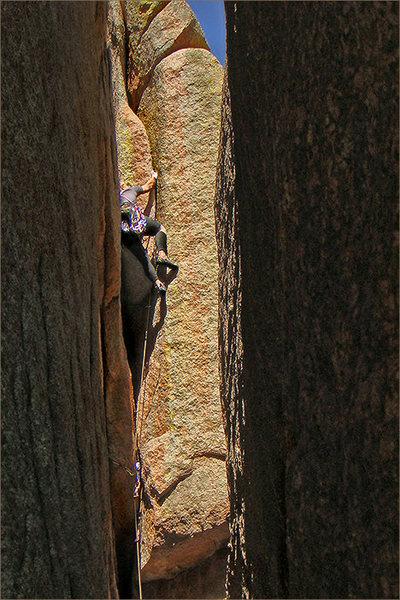 Climber on 'Pandora'.