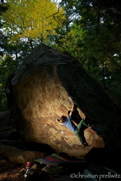 Rock Climbing Photo: Another big move. Tyler Hogan on 'Mr. Natural' (v1...