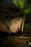 Rock Climbing Photo: Christoph Riedl on the opening move of 'Rio's Prob...