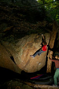 Rock Climbing Photo: Christoph Riedl finishing up 'Rio's Problem' (v8)....