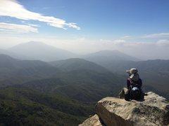 Rock Climbing Photo: Sara at the top of Scot Rock.