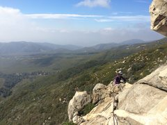 Rock Climbing Photo: At the rappel anchor for descending Bonnie Brae/Hi...