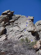 Rock Climbing Photo: Beta photo with location of bolts and anchors.