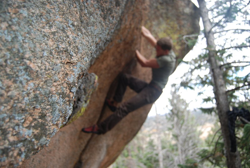 Climbing some classic splitter in the college days.<br> <br> Photo by Rob Joyce.