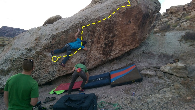 Rock Climbing Photo: Che getting established into the left sidepull.