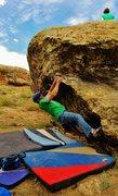 Rock Climbing Photo: Brad pulling through the crux of Transience.
