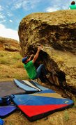 Rock Climbing Photo: Brad sticking the first move to the good edge on T...