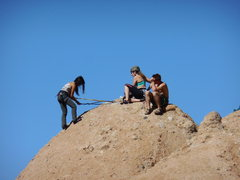 Rock Climbing Photo: Setting up an anchor, at the top of the Temple of ...