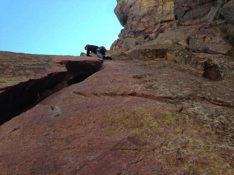 Rock Climbing Photo: P2 of Werk Supp, Eldorado Canyon.