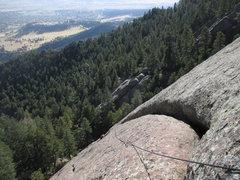 Rock Climbing Photo: Joseffa follows up P1 of Crescent, a 76-meter long...