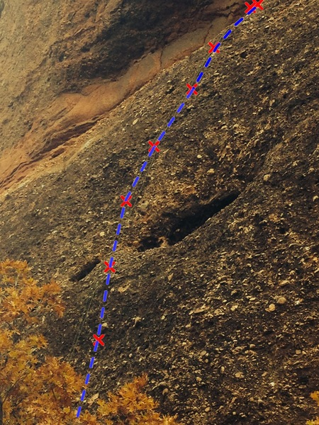 Rock Climbing Photo: Lightfoot .10a, crux is at bottom behind trees in ...