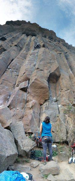 Rock Climbing Photo: Tim climbing Gruff.  Nora providing the Belay.